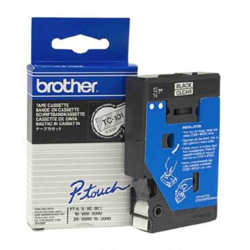 CINTA BROTHER TC101 12MM NEGRE/TRANSPARENT