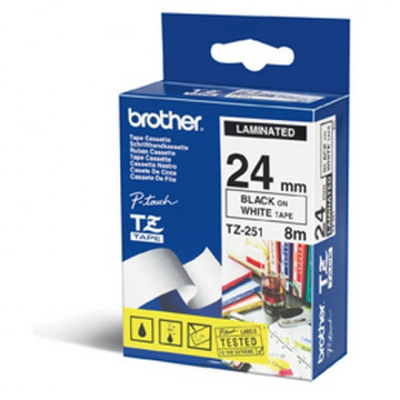 CINTA C BROTHER TZ251 24mm NEGRE/BLANC