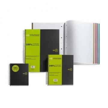 Cuaderno espiral A4 120 hojas 80gr. cuadrícula 5x5 microperforadas 4 taladros gris Note book 4 Reciclado Miquel Rius