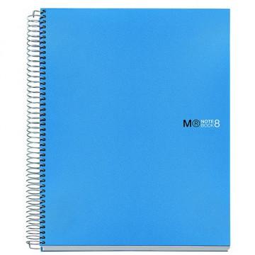 Cuaderno espiral A4 200 hojas 70gr. cuadrícula 5x5 microperforadas tapa PP azul 8 bandas color Notebook 8 MR