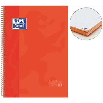 Cuaderno espiral A4+ 80 hojas 90 gramos 4 taladros cuadrícula 5x5 naranja European 1 Oxford