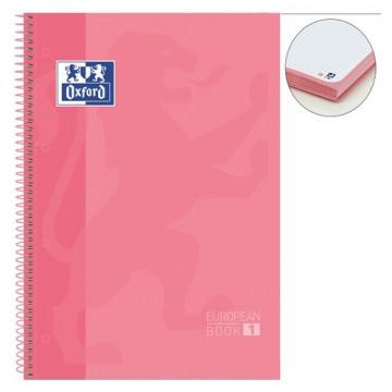 Cuaderno espiral A4+ 80 hojas 90 gramos 4 taladros cuadrícula 5x5 rosa chicle European 1 Oxford