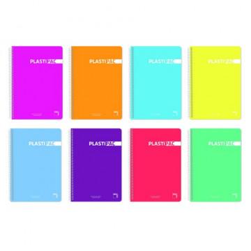 Cuaderno espiral Cuarto 80 hojas 90gr. Tapa plástico cuadrícula 4x4 c/margen Plastipac Pacsa