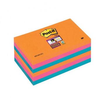 Notas adhesivas Super Sticky 76x127 colores eléctricos pack de