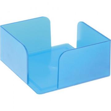 Portanotas cuadrado 105x105x55 azul mar translúcido. No incluye taco de papel.