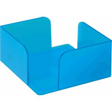 Portanotas cuadrado 105x105x55 azul translúcido. No incluye taco