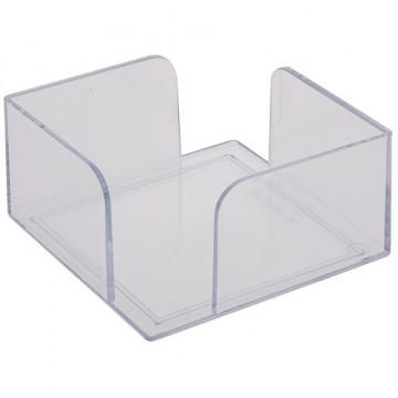 Portanotas cuadrado 105x105x55 cristal transparente. No incluye taco de papel.