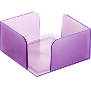 Portanotas cuadrado 105x105x55 malva translúcido. No incluye tac