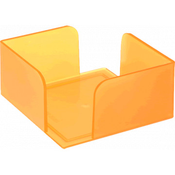 Portanotas cuadrado 105x105x55 naranja translúcido. No incluye t