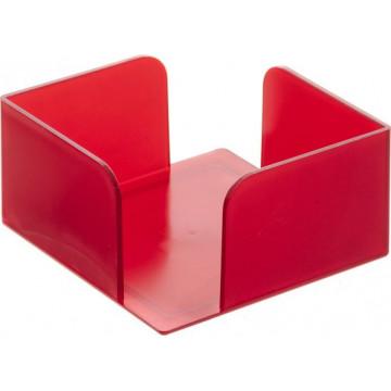 Portanotas cuadrado 105x105x55 rojo translúcido. No incluye taco