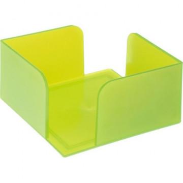 Portanotas cuadrado 105x105x55 verde kiwi translúcido. No incluye taco de papel.