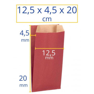 Sobres kraft 12,5x4,5x20cm rojo 250u Apli
