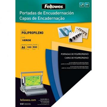 Tapas encuadernación A4 PP 500 micras verde 100 un. Fellowes