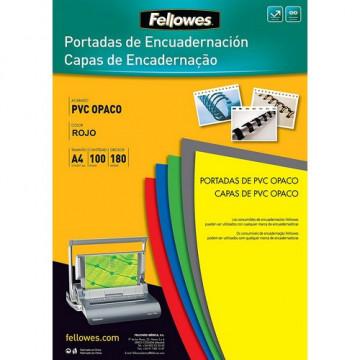 Tapas encuadernación A4 PVC 180 micras opaco roja 100 un. Fellowes