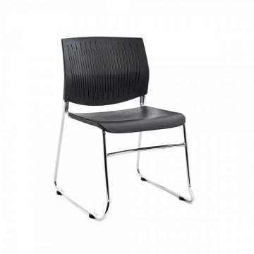 Silla confidente asiento y respaldo plastico negro
