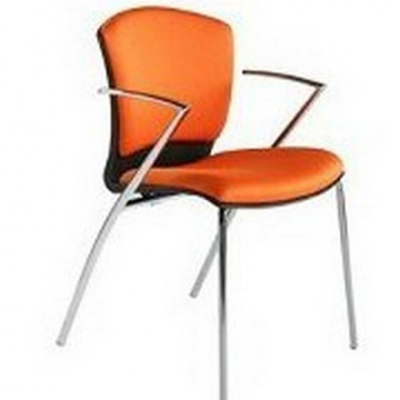 Silla confidente profesional tapizada naranja roca