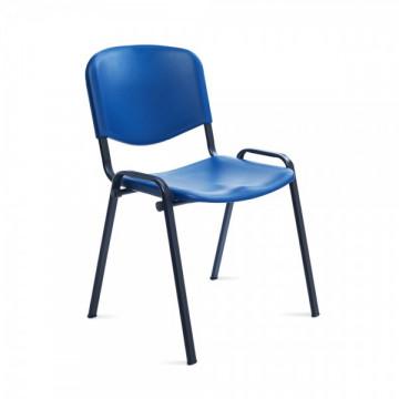 Silla confidente respaldo plástico azul / asiento plástico azul