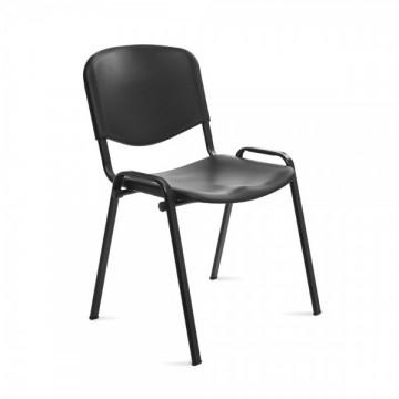 Silla confidente respaldo plástico negro / asiento plástico negr