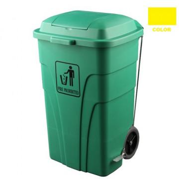 Contenedor de 120 litros para basuras,con pedal amarillo