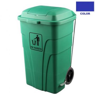 Contenedor de 120 litros para basuras,con pedal azul