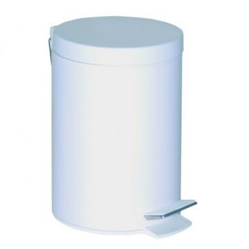 Cubo cilíndrico con pedal 5 litros de capacidad, lacado blanco