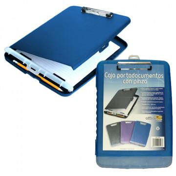 Caja portadocumentos con pinza 370x255mm.. PP azul