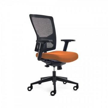 Silla operativa oficina respaldo malla negra y asiento tapizado