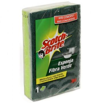 Esponja fibra verde 82 x 117mm. Scotch Brite®