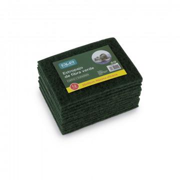 Estropajo fibra verde 20x15 pack 12 unidades