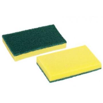Estropajo fibra verde con esponja pack 10 unidades