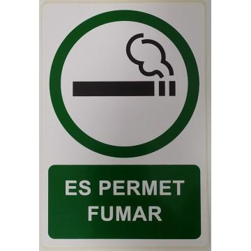 ETIQUETA ICONO 12x18 ES PERMET FUMAR (2u)     (ABO
