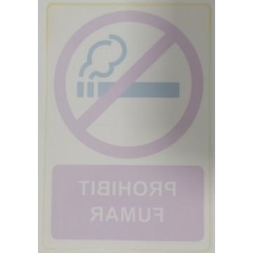 ETIQUETA ICONO 12x18 VIDRE PROHIBIT FUMAR(2u)  (AB