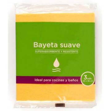 Bayeta microfibra amarilla suave pack 3 unidades
