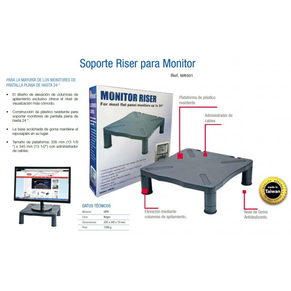 SOPORT MONITOR 335x345x100 NEGRE AIDATA (fins 15Kg)(ELEVABLE)