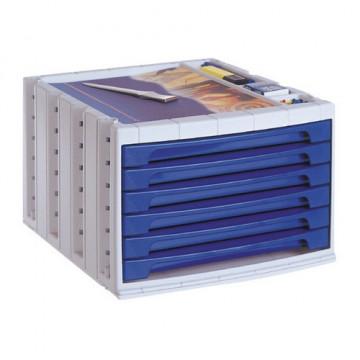 Módulo 6 cajones cerrados en color azul opaco Arch