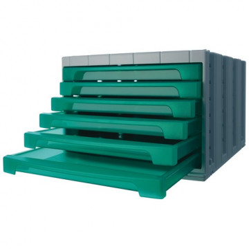 Módulo 6 cajones cerrados en color verde traslúcid