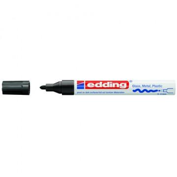 Marcador permanente tinta opaca punta redonda 2-4 mm. negro Edding 750