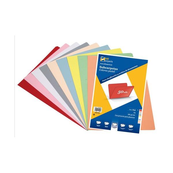Subcarpeta A4 180 gr. color pastel Rojo Ofiexperts