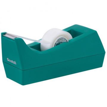 Portarrollos sobremesa cinta C38 azul verdoso + rollo cinta 19mm