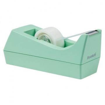 Portarrollos sobremesa cinta C38 menta + rollo cinta 19mm x 8,9m