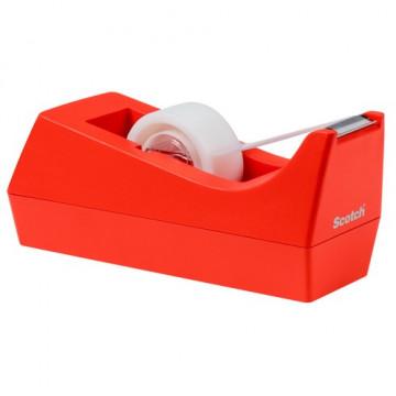 Portarrollos sobremesa cinta C38 naranja + rollo cinta 19mm x 8,