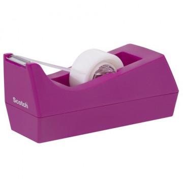 Portarrollos sobremesa cinta C38 rosa + rollo cinta 19mm x 8,9m