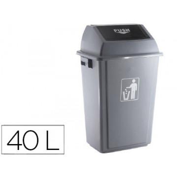 Papelera contenedor plástico con tapa 40 l.