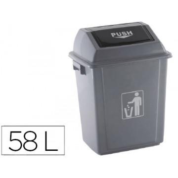 Papelera contenedor plástico con tapa 58 l.