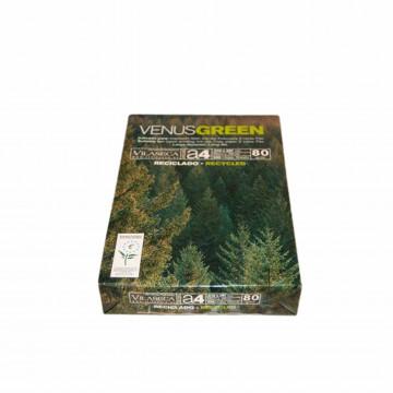 Papel A4 80 gr. 500 hojas blanco reciclado Venus Green