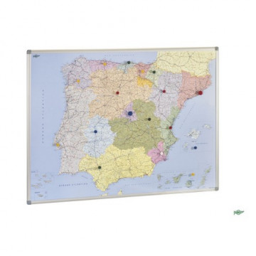 Mapa España magnético con marco de aluminio 101x137 cm Faibo