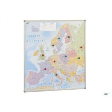 Mapa Europa magnético con marco de aluminio 101x113 cm Faibo
