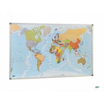 Mapa Mundi magnético con marco de aluminio 84x140cm Faibo