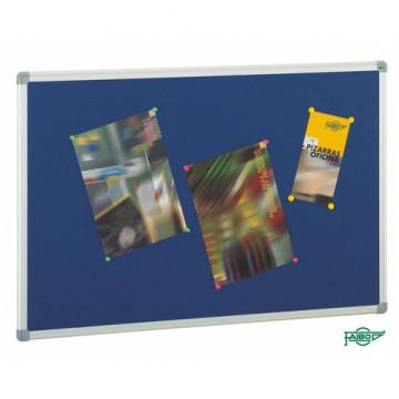 Tablero de corcho ligero tapizado azul 90x150 cm.