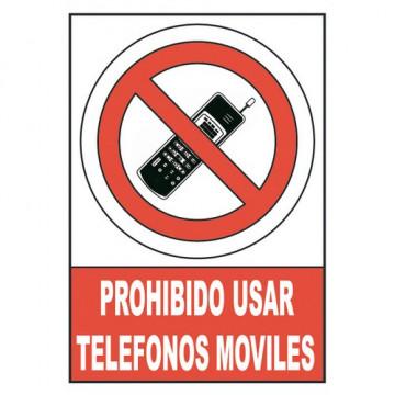 Señal PVC normalizada ´´Prohibido utilizar telefonos moviles´´ 210X297 rojo  Archivo 2000